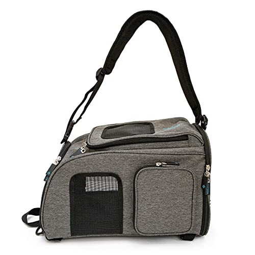 Sherpa Backpack Pet Carrier, Airline Approved, Machine Washable, Mesh Windows, Safety Locks, Spring Frame, Medium, Gray