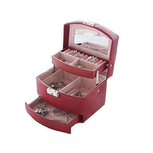 Joyero de 3 capas, con cierre y espejo, organizador de joyas con 2 cajones, bandeja extraíble, regalo de boda, cumpleaños, rojo vino
