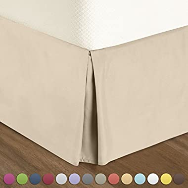 """Nestl Bedding Pleated Bed-Skirt Queen Size – Cream (Ivory-Vanilla) Luxury Double Brushed 100% Microfiber Dust Ruffle, 14"""" inch Tailored Drop, Covers Bed Legs and Frame. By"""