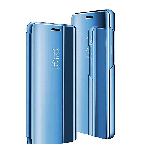 Funda para Galaxy S8, para Samsung Galaxy S8, con espejo transparente, función atril, 360 grados, antigolpes, antiarañazos, tapa fina, color azul azul Talla única
