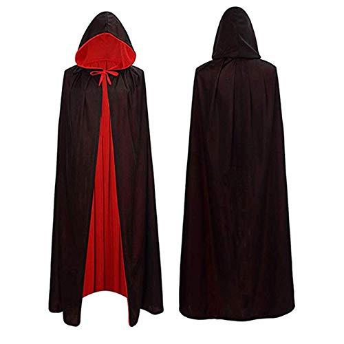 Lulu Home Halloween Cloak, Unisex Velvet Hooded Cape Halloween Costume for Man and Woman
