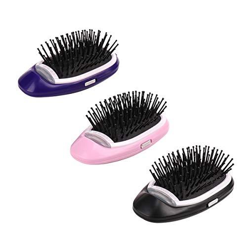Ruiqas Brosse à Cheveux électrique portative, Mini Peigne à Cheveux Antistatique aux ions de Soleil, Massage Relaxant au Spa pour Cheveux Stress, à Piles, 3 Couleurs en Option (Color : Purple)