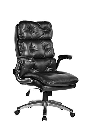 BOSMILLER Office Chair High Back Leather Executive Computer Desk Chair Adjustable Tilt Angle and Flip-up Arms Swivel Chair Thick Padding Ergonomic Desk Chair Lumbar Support Office Chair
