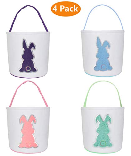 Easter Bunny Bags, Easter Bunny Baskets Rabbit Ears Design Jute Cloth Tote Bags for Kids Eggs Hunting, Candy and Gifts Carry Bucket at Easter Party (Basket 4 Pack B)