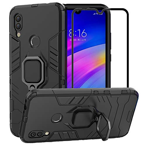BestAlice for Xiaomi Redmi 7 case, Hybrid Heavy Duty Protection Shockproof Defender Kickstand Armor Case Cover Tempered Glass Screen Protector,Black