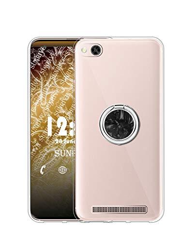 Sunrive Kompatibel mit Xiaomi Mi 4c Hülle Silikon, Transparent Handyhülle 360°drehbarer Ständer Ring Fingerhalter Fingerhalterung Schutzhülle Etui Hülle(Schwarz) MEHRWEG