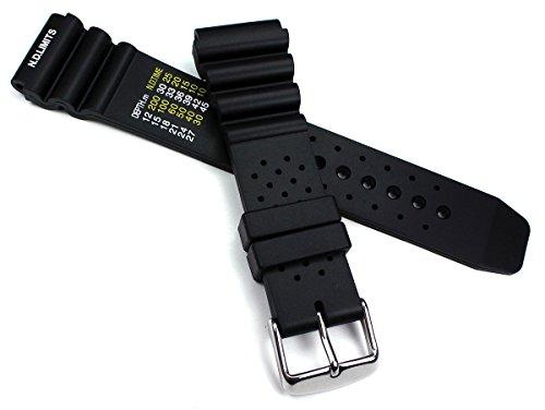 22mm schwarz Kautschuk Silikon Professionelles Armband Taucher Diver Uhrenarmband mit Wellen