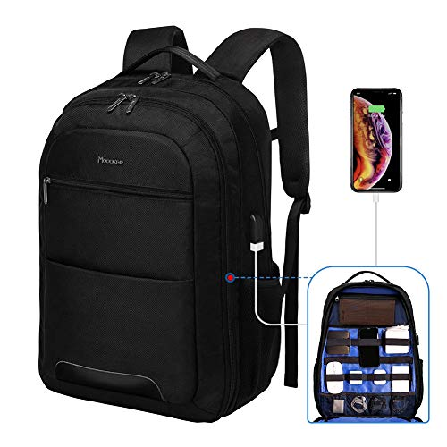 Modoker Backpack for Men, Tech Backpack with Charger, 17.3 Inches Laptop Backpack, Electronics Computer Bag with Built-in Cable Organizer, Business Travel Backpack Carry On, Black
