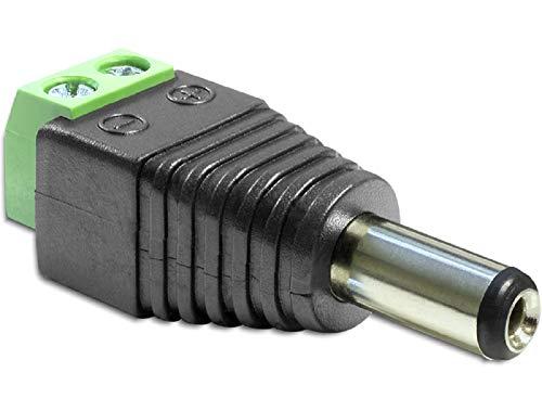 DeLOCK 65487 Adattatore DC 5,5x2,5mm Connettore Morsettiera 2 Pin, Nero/Verde