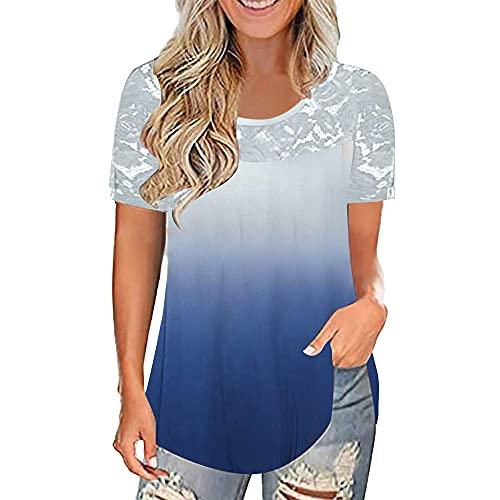Mayntop Camiseta de verano para mujer, de manga corta, cuello redondo, de fibra de leche, color liso, plisada, suelta, con cuello redondo, para mujer, B-white Blue, 34