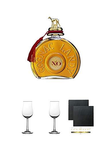 Landy XO Cognac Frankreich 0,7 Liter + Nosing Gläser Kelchglas Bugatti mit Eichstrich 2cl und 4cl 2 Stück + Schiefer Glasuntersetzer 2 Stück