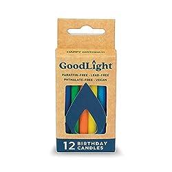 GoodLight Paraffin-Free Vegan Birthday Candles, Rainbow