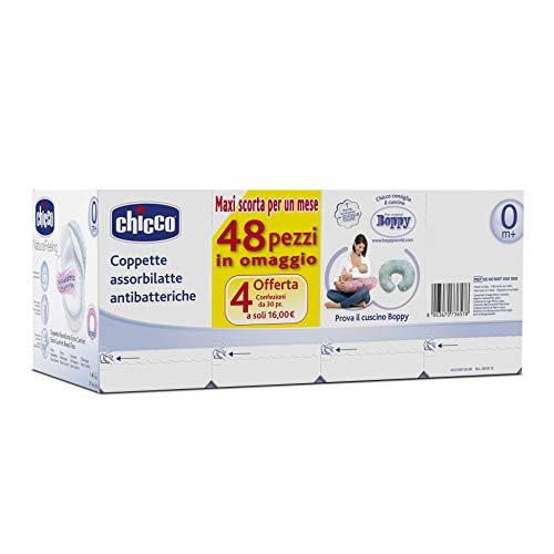 Chicco - Discos absorbentes desechables para la pérdida de leche (120 unidades para 4 semanas, antibacterianos).