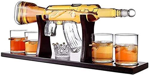 Decantador de vino de vino de cráneo y gafas Conjunto Clásico AK-47 Pistola Set Large Decanter Set Ballets, exquisito elegante rifle de whisky Decanter con 4 gafas de whisky de bala y base de madera d