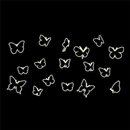 BLOUR Papillons Lumineux Night Glow Fluorescent Dark Stickers muraux Butterfly Glow Dark Luminous Paste Décoration de Plafond 17pcs / Set