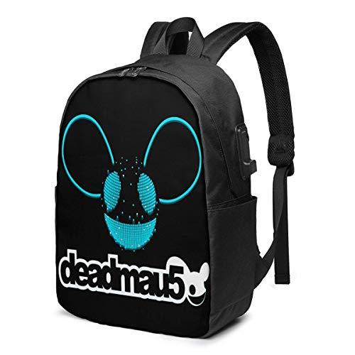 Mochila de 17 pulgadas para portátil con cargador USB – Mau Dj Daypack Classic Mujeres Boy Label Card Bag