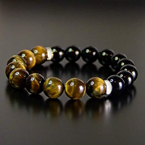 Tiger Eye - Black Obsidian - Onyx Protection Bead Bracelet Chakra Energy Gift for Men and Women 10mm 8mm