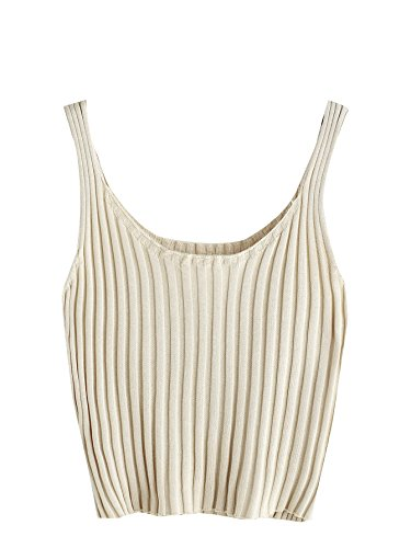 SweatyRocks Women's Ribbed Knit Crop Tank Top Spaghetti Strap Camisole Vest Tops (Small, Apricot)