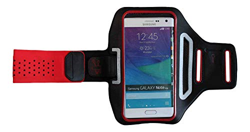 Sport-Armband Oberarm Tasche passend für Motorola Moto One Macro/X Force/X Style / X4 Handy Halterung Fitness-Hülle, Tasche mit großem Fach Jogging, Dealbude24 Trendy Groß Rot