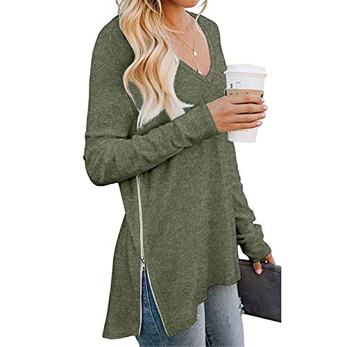 OutTop Women Long Sleeve T Shirt Casual V Neck Solid Loose Trendy Zipper Split Tunic Blouse Top Tees for Women (Army Green, L)