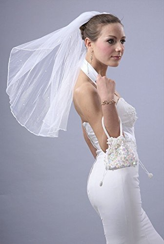 Wedding Veil Bridal Bride One Tier Shoulder Rhinestone Ivory Pencil Trim Edge