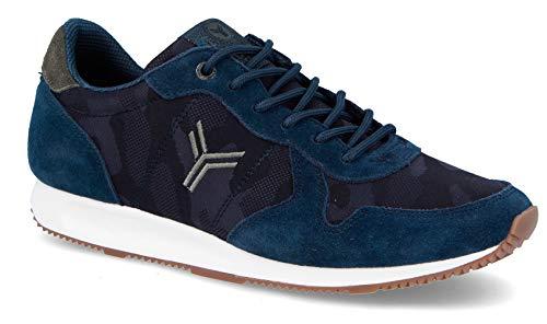 Zapatilla Sneaker Yumas Palermo Marino Fabricado en Piel Vuelta y nilon Plantilla Latex para Hombre