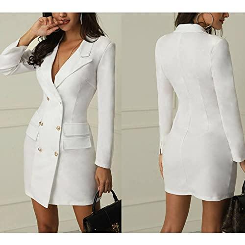 QKX,Mujer Vestido,Chaqueta Blazer de Doble Botonadura para Mujer Abrigo Corto Outwear Oficina Dama Abrigo Vestido botón Grace Elegante, Negro, M