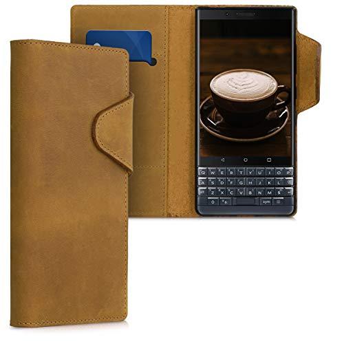 kalibri Wallet Hülle kompatibel mit BlackBerry KEYtwo (Key2) - Hülle Leder - Handy Cover Handyhülle in Hellbraun