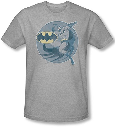 Dc Comics - - Hombres camiseta retro Batman hierro en T-Shirt En Plata