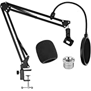 Microphone Stand with Pop Filter ChromLives Mic Stand With Clip for Blue Yeti Microphone Stand Desk Suspension Boom Scissor Arm Mic Stand for Blue Snowball, Blue Yeti and Other Microphones