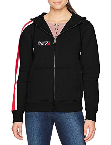 Mass Effect n7 Hoodie für Herren/Damen Gr. Medium, N7 Schwarzer Kapuzenpullover für Damen