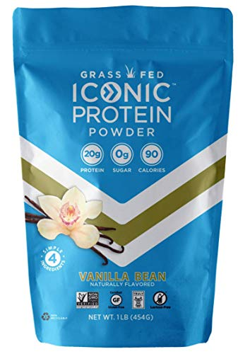 Iconic Protein Powder Vanilla Bean 1 Lb 18 Servings | Sugar Free Low Carb Protein Shake | 20g Grass Fed Whey Protein amp Casein Protein | Lactose Free Gluten Free Kosher NonGMO | Keto Friendly