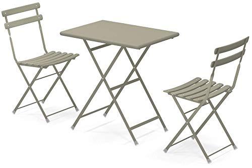 Set Arc en Ciel: Table Pliante Article 334 Centimetre. 50 x 70 et 2 chaises pliantes Article 314 Couleur Gris/Vert Cod. 37