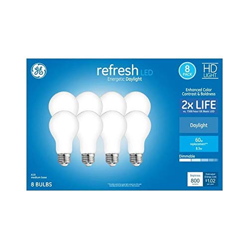 GE Refresh 60-Watt EQ A19 Daylight Dimmable LED Light Bulb (8-Pack)