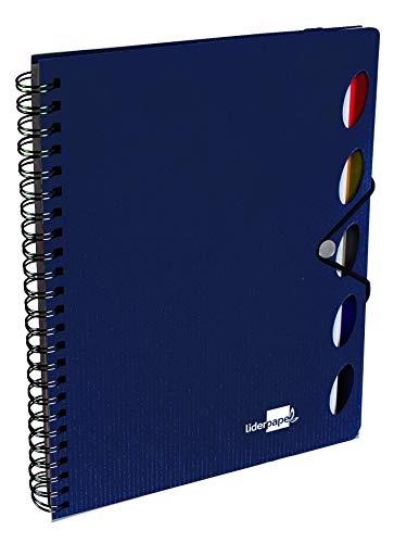 Liderpapel Cuaderno Espiral A5 Micro Executive Tapa Plástico 100H 80 g/m² Cuadro 5Mm 5 Separadores Con Gomilla Azul