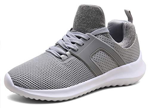 XKMON Chaussures de course légères à lacets pour homme et femme - Gris - gris clair, 37 EU