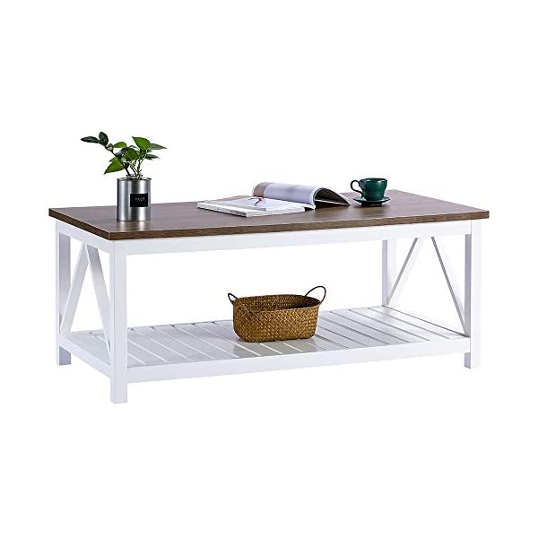 ChooChoo Farmhouse Coffee Table with Wood Top for Living Room, Rectangular White Table with Shelf, 47 inches