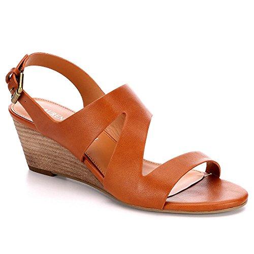 Lauren Blakwell Womens Genesis Wedge Sandal Shoes, Cognac, US 7.5