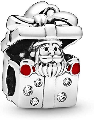 BESTLOVE Babbo Natale in una confezione regalo I ciondoli con perline in argento sterling 925 si adattano a bracciali e collane con ciondoli Pandora, regali per donne