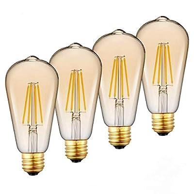 Dimmable LED Edison Bulbs, LED Amber Light Bulb, Vintage Style, 5W, 60W Equivalent, E26 Medium Base, Warm White 3000K, ST64, 280 Lumen?Antique Vintage Style Light, Squirrel Cage Filament