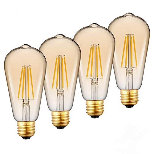 Dimmable LED Edison Bulbs, LED Amber Light Bulb, Vintage Style, 5W, 60W Equivalent, E26 Medium Base, Warm White 3000K, ST64, 280 Lumen,Antique Vintage Style Light, Squirrel Cage Filament