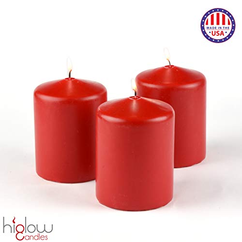 """Dripless Pillar Candles 3"""" x 4"""" inches Tall - Wedding & Home Decoration Candles (Ivory) Premium Wax Set of 3 Made in USA"""