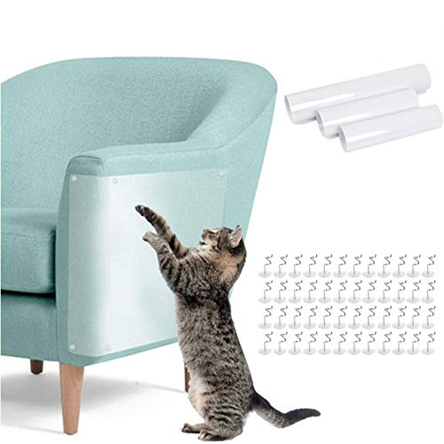 BUYGOO 8Pcs Cat Scratch Guard Furniture Protector Self Adhesive Cat Scratch Protector for Sofa Furniture Upholstered Chair, Flexible Clear Cat Furniture Guard with Pins(3 Sizes)