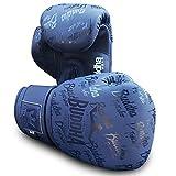 Buddha Fight Wear. Guantes de Entrenamiento y Combate, Special Edition, Fabricados a Mano , Boxeo, Muay Thai, Kick Boxing y MMA Modelo Top Premium Azul Navy Mate 14 Onzas