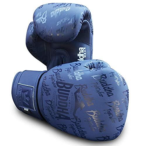 Buddha Fight Wear. Guantes de Entrenamiento y Combate, Special Edition, Fabricados a Mano, Boxeo, Muay Thai, Kick Boxing y MMA Modelo Top Premium Azul Navy Mate 12 Onzas