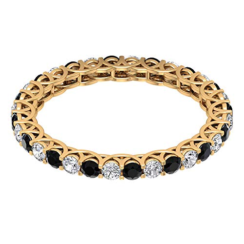 1/2 CT Black Spinel and Diamond Gold Ring, HI-SI Diamond Eternity Band Ring, 2 MM Round Cut Engagement Ring, 14K Rose Gold, Size:UK K