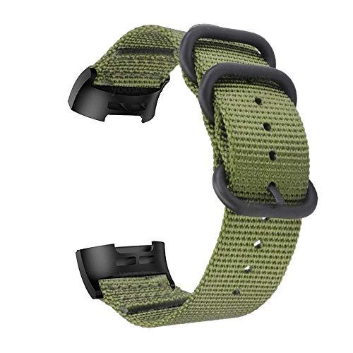 YOOSIDE Cinturino per Fitbit Charge 3 / Charge 4, Nota Cinturino in Nylon Intrecciato con Cinturino Regolabile in Acciaio Inossidabile con Anello in Metallo per Fitbit Charge 4(Verde)