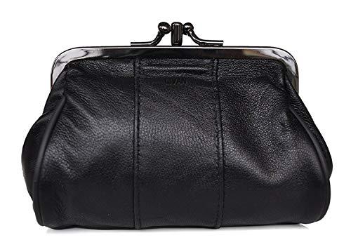 LIVAN – Monedero Clic-Clac Retro – Piel de cordero – Estructura metálica antracita – 2 compartimentos (para monedas y bolas) – Mujer – 12,5 x 8 x 5 cm