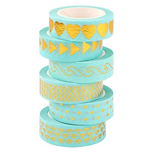 Washi Tape Set,10 rollos de Washi Tape 1.5cm x 10M Gold Foil Flower Cinta decorativa decorativa Cinta adhesiva Japonés Washi Tape para decoración de regalo de álbum de recortes de bricolaje (Blue)