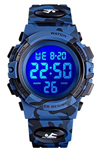 Kinder Uhr Digital Jungen Sport Outdoor 5 ATM Wasserdicht 5 Bar Digital Uhren LED Alarm Stoppuhr Kalender Datum Multifunktional Kinderuhren Armbanduhr für Jugendliche Quarz Silikon